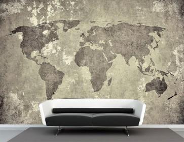Fotomural mapamundi vintage gris