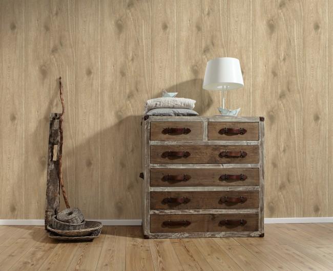 Papel pintado madera clara for Papel imitacion madera