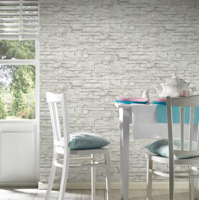 Papel pintado pared piedra blanca - Papel pared piedra ...