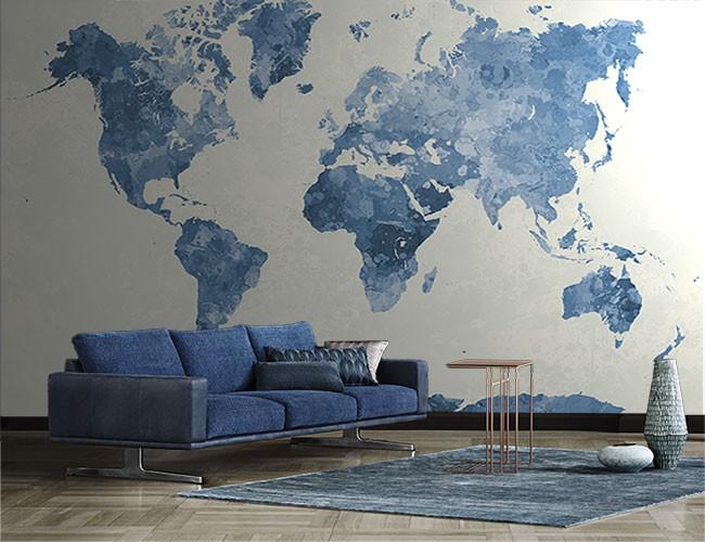 Fotomural mapamundi azul - Papel pintado mapamundi ...