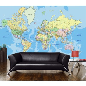 Fotomural Mapa físico del mundo